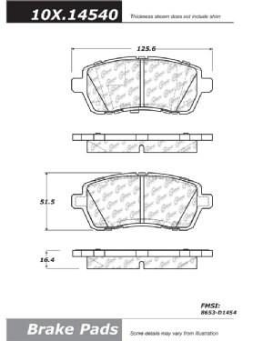 centric posi quiet extended wear front brake pads for 2011. Black Bedroom Furniture Sets. Home Design Ideas
